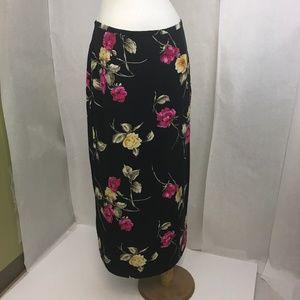 Vintage 90's Casual Corner Silk Floral Maxi Skirt